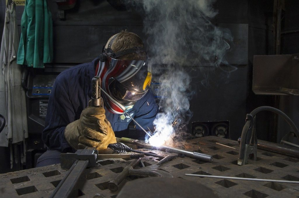 welding fume rising from welding process