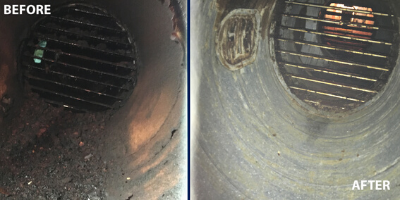 Beforeand after ductwork cleaning
