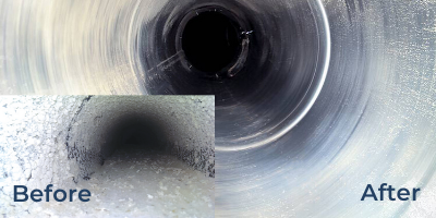 Ductwork cleaning before and after