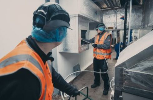 Cleaning Ductwork With Rotary Brush