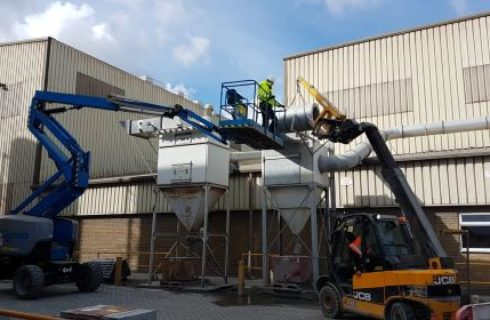 Engineers Working on External Dust Extraction Ductwork