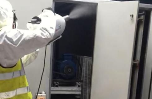 Engineer Fogging Interior of AHU